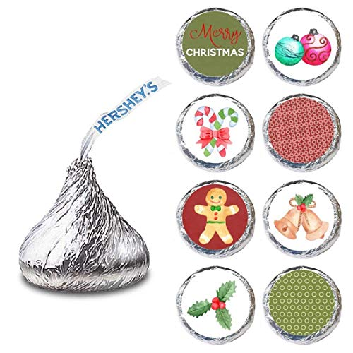 Vintage Christmas Label for HERSHEY'S KISSES® chocolates - Holiday Party Candy Stickers - Set of 240