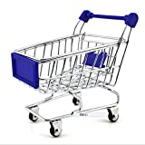 Nigoz Creative Mini Carrito de la compra de Supermercado Carrito de mano de Juguetes Modelo Carro Cesta de almacenamiento (Azul) Adorable calidad y práctica, práctica y rentable