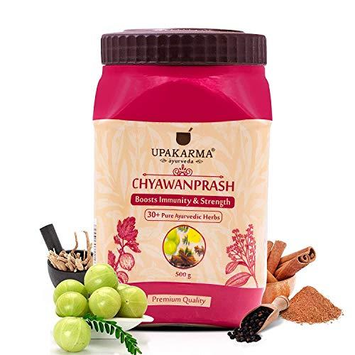 UPAKARMA Ayurveda 500g/ 17.63 Oz (Pack of 1) Pure Chyawanprash (Chyavanprash)/ Herbal Jam with 30 Plus Ayurvedic Herbs to Boost Immunity and Strength