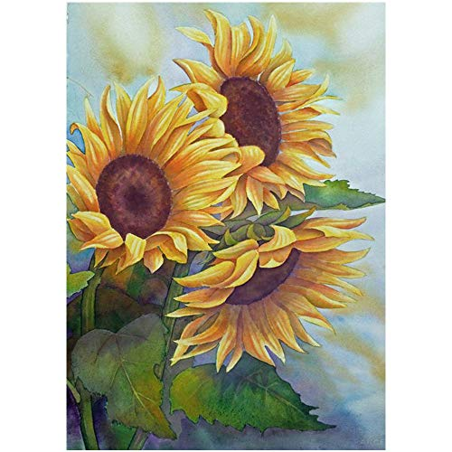 5D Diamond Painting, DIY Full Diamond Rhinestone Embroidery Cross Stitch, Crafts, Art, Canvas, Wall Decoration 12X16 inch (Sunflower)