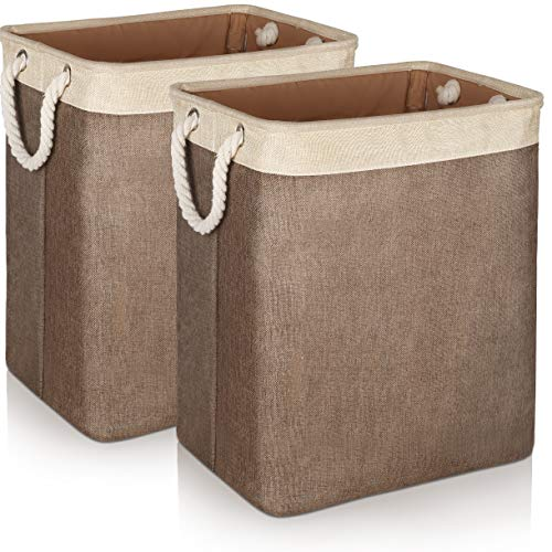Laundry Basket with Handles 2 Pack, JOMARTO Collapsible Linen Laundry Hampers Built-in Lining with Detachable Brackets Well-Holding Laundry Storage Basket for Toys Clothes Organizer - Brown