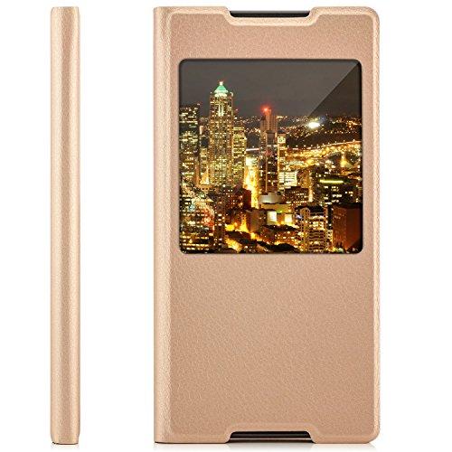 Saxonia Funda Sony Xperia Z5Carcasa Case Funda Flip View Cover con Ventana y Protector de cámara, Compatible con Sony Xperia Z5, Color Dorado