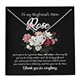 selltoxyz to My Boyfriend's Mom Customize Name Mother's Day Birthday Flowers Personalized Customized Pendant Necklace Jewelry Silver Gold Message Cards Box for Her Girls Women Love Knot