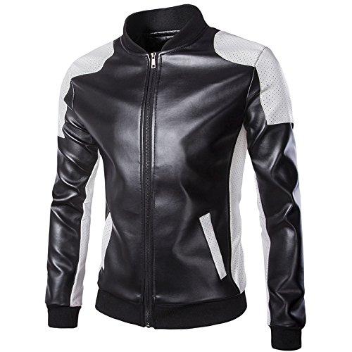 WSLCN Jaqueta masculina de couro sintético para motociclista e motoqueiro, casaco Col Mao com zíper, cores contrastantes, mantém quente no outono e inverno, Preto, GG