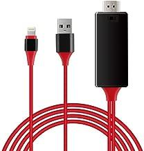 QYLJX iPhone Pantalla a TV Cable HDMI 1080p iOS Adaptador Cargador USB, Soportes para iPhone y iPad, Plug and Play, Longitud 2M (Rojo)