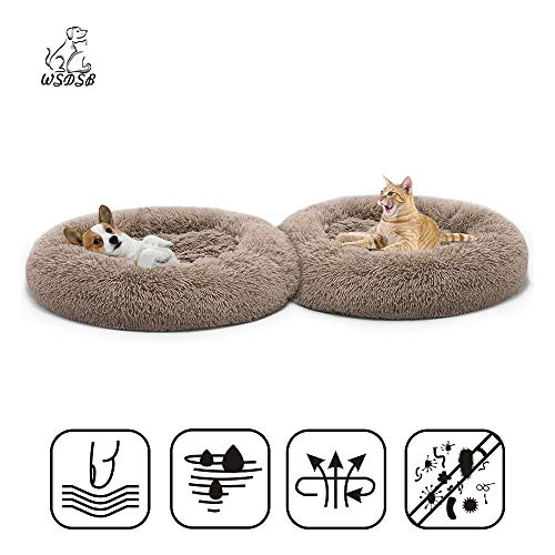 WSDSB Plush Donut Cuddler Calming Pet Bed for Orthopaedic Relief - Cat Bed Calming Marshmallow Cat Bed Soft, Comfy and Fluffy S