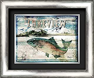 Lakeview 24x20 Silver Contemporary Wood Framed and Double Matted (Black Over Silver) Art Print by Brent, Paul