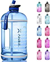 Vmini Water Bottle with Time Marker, Motivational Water Bottle & 1 Gallon Water Bottle with Time Marker to Drink More Daily - Leakproof Reusable Gym Sports Outdoor Large Capacity (128 oz, Navy Blue)