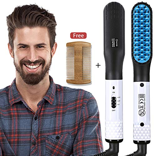 Hair Straightener Brush, Beard Straightener Comb for Men, Electric Ceramic Ionic Quick Heated Hair Brush, Fast Shaping for Beard Grooming And Hair Styling for Men,Universal Voltage Suitable for Travel