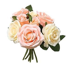 Yeefant 8 Pcs Artificial Fake Roses Flower Bridal Bouquet Wedding Party Home Decor,Total Length 0.89 Ft,Flower Diameter 0.59 Ft,Flower Height 0.16 Ft