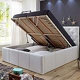 Polsterbett Bett mit Bettkasten 160x200 Weiß XXL Nelly Lattenrost Doppelbett