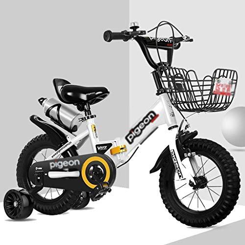 JYetzxc Fahrräder Indoor-Heimtrainer Kinder Faltrad Kinder im Freien Jungen und Mädchen Fahren das Dreirad Fahrrad als Geschenk für Kinder (Farbe: Weiß, Größe: 12 Zoll)