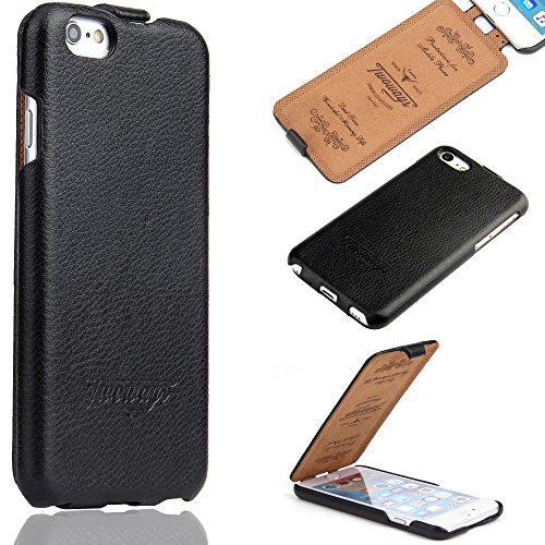 Twoways® Handyhülle für iPhone 6 - Handyhülle für iPhone 6s - Flip Hülle aus echtem Leder mit 360 GRAD PROTECT - Schutzhülle für iPhone 6 / 6s Tasche in Schwarz