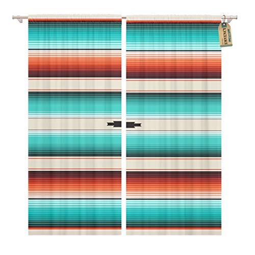 Golee Window Curtain Turquoise Orange Navajo White Stripes Mexican Serape Threads Native Home Decor Pocket Drapes 2 Panels Curtain 104 x 84 inches