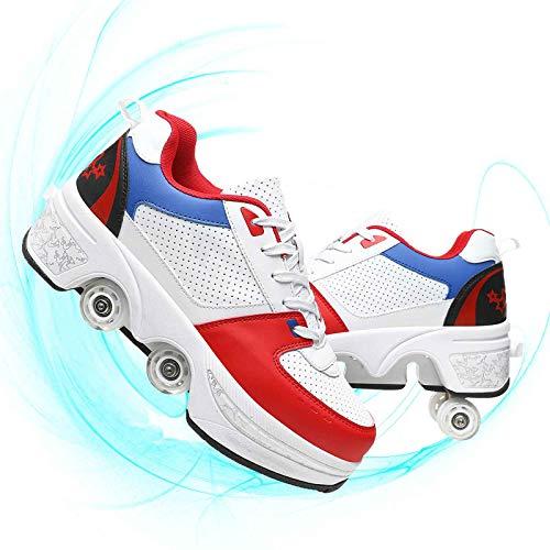 JZIYH Zapatillas unisex de Deformation Parkour para mujer y niño de doble fila, patines de cuatro ruedas de deformación adecuados para principiantes