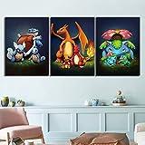 nr Leinwand malerei gedruckt Dekoration Pokemon wandkunstwerk modulare Bild Poster Wohnzimmer 40x50cmx3 rahmenlose
