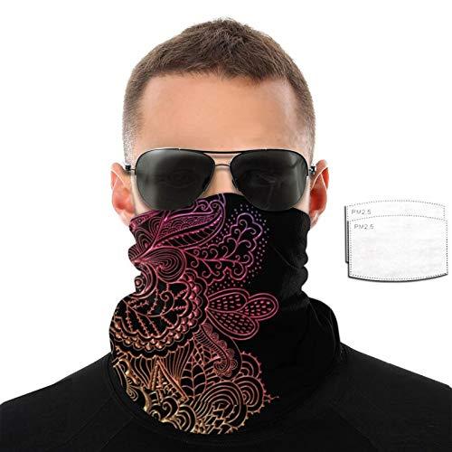 Hot Lace On Black Bandana Neck Gaiters Face Cover Schal Face M_ask mit Filtertasche für Outdoor Sport für Damen Herren mit 2 Filtern