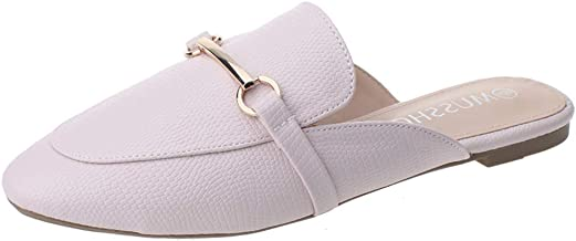MUSSHOE Mules for Women Slip on Flats Loafers, Pointed Tose Womens Mules, Flat Loafers Shoes for Women, Womens Mules