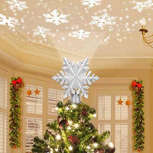 kapebow Christmas Snow Tree Topper Snowflake Projector, 3D Sparkling Glitter Silver,Led Night Light with Rotating White Snow for Xmas Tree Decoration,Indoor Living Room, Bedroom Kids, Family (Silver)