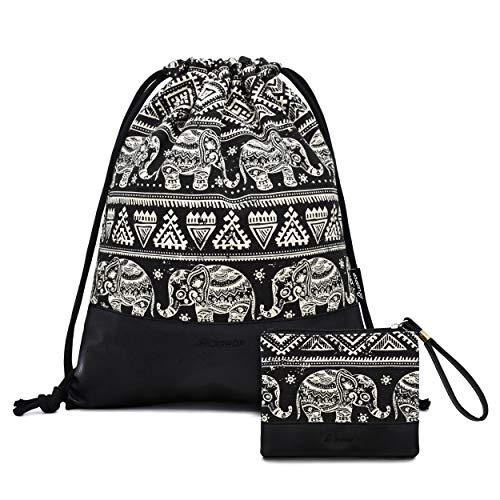Leapop Turnbeutel Hipster Segeltuch Sporttaschen, Elefant Geometrisches Muster Gym Sack Beutel Sportbeutel Tüte Rucksack mit Innentasche und Schlüsselbund, Münzbörsen (Schwarz)