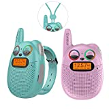 QNIGLO FRS Walkie Talkies with FM, Wearable & Rechargeable Walkie Talkies for Kids, up to 2 Miles Kids Walkie Talkies for Bicycle, Hiking, Camping, Running (2 Packs, Pink+Green)