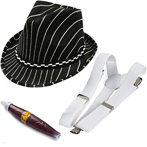 Funny Party Hats Gangster Costume - 3 Pc Set - 1920's Mens Costume - Mobster Hat