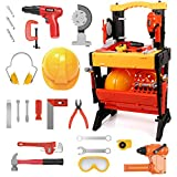 124 Pcs Kids Power Workshop Tool Bench, Exercise N Play Kids Workbench with Bench Drill Cutting Machine Screws Construction STEM Educational Play, Pretend Play for Toddlers