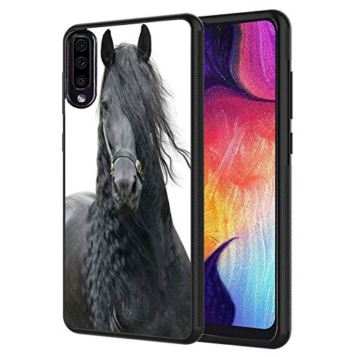 Galaxy A01 Case,Friesian Horse Anti-Scratch Shockproof Black Silicone Rubber TPU Protective Case Cover for Samsung Galaxy A01