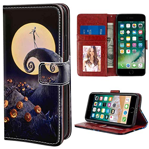 Wallet Case Compatible Apple iPhone 6s Plus (2015) or iPhone 6 Plus (2014) (5.5in) Amazing Before Christmas Black Burton Great Halloween Horror Jack O Lanterns Jim King Legend Moon Nightmare Pumpkin