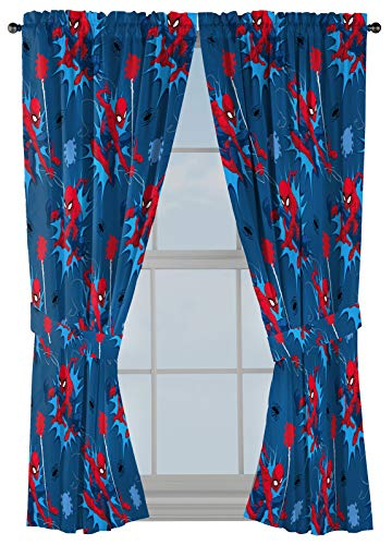 """Marvel Spiderman Spidey Daze 63"""" Inch Drapes - Beautiful Room Décor & Easy Set Up, Bedding - Curtains Include 2 Tiebacks, 4 Piece Set (Official Marvel Product)"""
