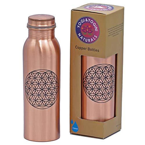 Koperen fles bloem des levens bedrukt - 750 ml