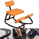 LUOQI Silla ergonómica para arrodillarse, Silla correctiva para arrodillarse, con Respaldo para la Oficina, balancín, Equilibrio, Postura ortopédica, Taburete-Naranja
