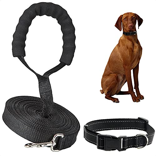 10m Schleppleine für Hunde und Hundehalsband 28-45cm, Trainingsleine Lange Seil mit Gepolstertem Griff und Reflektierendes Hunde Halsband für Kleine Bis Große Hunde Katze, Schwarz