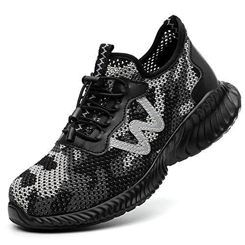 Lyoridra Sicherheitsschuhe Herren Damen S3 Leicht Sommer Arbeitsschuhe Sportlich Atmungsaktiv Schutzschuhe mit Stahlkappe Outdoor Sneaker Unisex