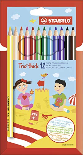 Dreikant-Buntstift - STABILO Trio dick - 12er Pack - mit 12 verschiedenen Farben