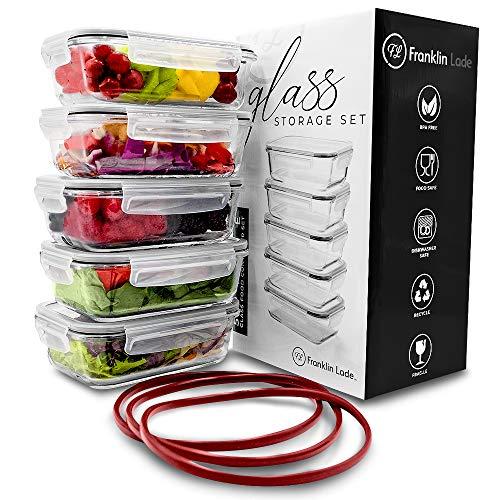 Franklin Lade® 5-teiliges Glas-Frischhaltedosen-Set 860ml | BPA-freie, Luftdichte, Auslaufsichere Deckel | Perfekte Meal Prep Lunchboxen | Mikrowellen-, Ofen, Gefrierschrank & Spülmaschinenfest