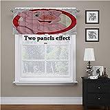 Adorise - Cortinas para ventana, diseño de cerdo, para colgar en la barra, para oscurecer la habitación, 54 x 18 pulgadas