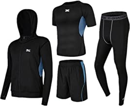 Huangxiaofang Trainingskleidung für Herren Kurzarm T-Shirt Shorts 4 Stück Mens Fitness Bekleidung Set mit Outwear Kompressionshose für Radfahren Laufen Gym Fitness (Color : Black Blue, Size : L)