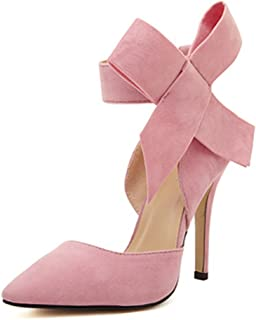 Z&L Fashion MMJULY Women's Pointy Toe High Heel Stiletto Big Bow Pumps Pink Size: 9