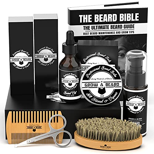 Beard Kit For Men Grooming & Care   Trimming Tool Set w/Beard Wash Shampoo   Complete Beard Grooming Kit, Growth Oil, Balm, Brush, Comb & Scissors w/Gift Box Package, Perfect Men's Grooming Kit Gifts