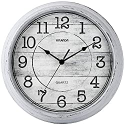 HYLANDA Retro/Vintage 12-Inch Kitchen Decorative Wall Clock, Silent Wall Cocks Battery Operated Non Ticking with Large Numbers Easy to Read for Home Bathroom Office(Grey)