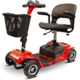 EWheels EW-M34 4-Wheel Foldable, Portable Lightweight Travel Electric Battery-Powered Medical Mobility Scooter with Adjustable Seat and Basket, Red