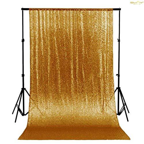 ShinyBeauty 180x215 cm Gold Pailletten Gold Pailletten Stoff Hintergrund Hintergrund Hochzeit Pailletten Hintergrund Vorhang Stoff Drapierung erröten Home Decor (Gold, 6FTx7FT)