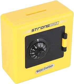 貯金箱コンビネーションロックコインお金節約収納ボックスコード現金セーフケース貯金箱貯金箱お金節約ブリキの装飾(色:黄色)
