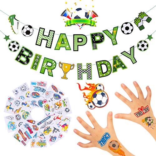 Kesote Set di Calcio Festoni di Compleanno + 10 Pezzi di Calcio Tatuaggio Temporanei Ghirlanda Calcio per Festa di Compleanno
