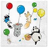 20 Servietten Lustige Tiere an Ballons als Tischdeko für den Kindergeburtstag 33x33cm