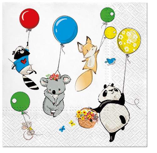20 servetten Grappige dieren ballonnen als tafeldecoratie voor de kinderverjaardag 33x33cm