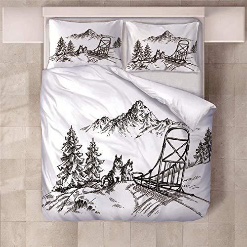 JKCloth Bettbezug Set mit 2 Kissenbezug 3D Schlitten Baumwollstoff Bettwäsche Cover Set 3 Stück King Größe - 155x220cm