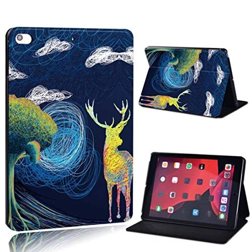 for iPad Mini 5/4/3/2/1 A1432 A1454 A1489 A1490 A1599 A1538 A2133 7.9'Printed Painting PU Leather Tablet Stand Cover Case,11.Deer by The Tree,iPad Mini 4 5