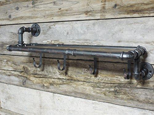 Urban estilo industrial hierro tubería de agua efecto estantería de pared y para colgar perchero ganchos Rack